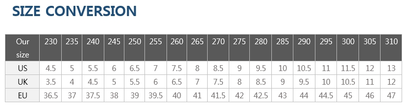 taekwondo shoe size chart